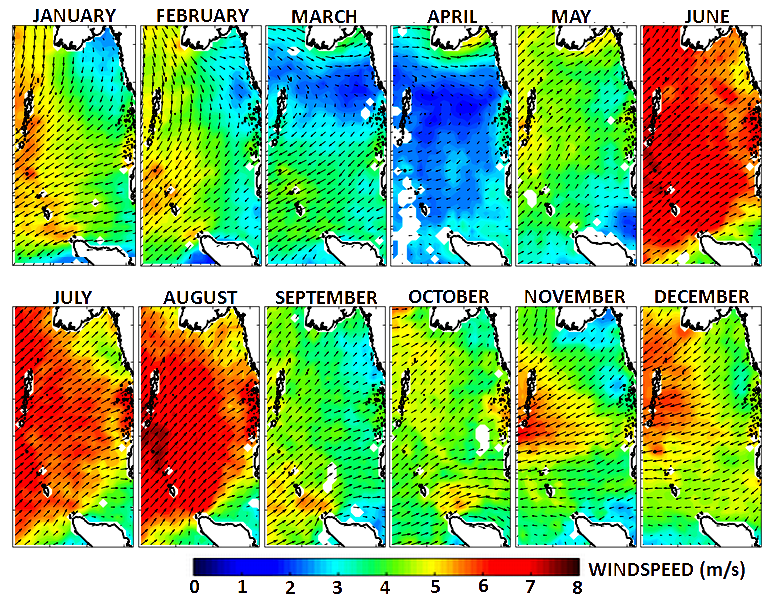 Monthly averaged ASCAT winds in ANDAMAN SEA for the year 2011, expressed in mps