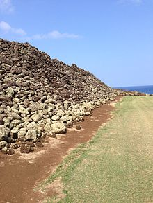 One of Mo'okini Heiau's rock walls.