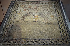 Sant'Antioco - Mosaic pavement depicting two panthers drinking from a krater