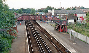 Mottingham railway station - Platform view (1991)
