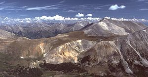 Mount Antero - Mt. Antero (at center-right), looking north from the summit of Mt. Shavano