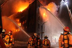 Firefighters Tackling A Blaze In Montreal Canada