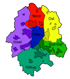 Subdivision of Münster into its administrative districts – the darker parts represent the parts of the city covered with buildings