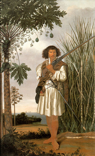 Mestiço - Mestiço man with gun and sword under a fruiting cocoa tree, Albert Eckhout, mid-seventeenth century Dutch Brazil