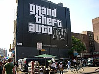 Advertisement for the computer game Grand Theft Auto IV, painted on a wall in New York City's Chinatown District.