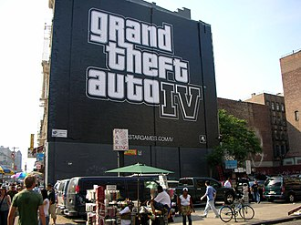 Grand Theft Auto IV - Mural ad for the game on a wall in New York City, July 2007.