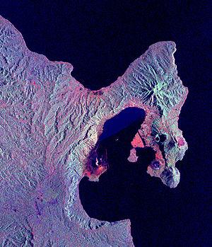 Tavurvur - Image: NASA Rabaul Volcano PIA01767
