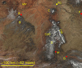 Chuska Mountains - Satellite image of northeastern Arizona and northwestern New Mexico, including the Four Corners Monument (FC). Snow dusts higher elevations in the image. Labeled natural features are the Chuska Mountains (CM), the Carrizo Mountains (C), Monument Valley Navajo Tribal Park (MV), Black Mesa (B), Canyon de Chelly National Monument (CdC), and the Defiance Uplift-(Plateau) (D). Labeled towns are Farmington, New Mexico (F), Gallup, New Mexico (G), Window Rock, Arizona (W), and Kayenta, Arizona (K).