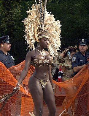 Labor Day Carnival - Woman in costume in the 2009 New York City parade.