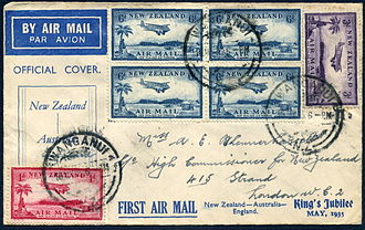 Airmail stamp - 1935 First flight cover from New Zealand to England with three denominations of airmail stamps paying the 2 shilling and 4 pence rate