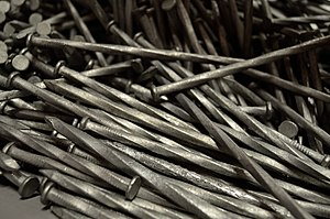 Nail (fastener) - A pile of steel spiral nails