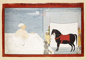 Raja - Raja Dhrub Dev assesses a horse, by Nainsukh, c. 1740s; it was usual for horses to be shown off in front of a white sheet, to better appreciate their form
