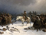 Painting of Napolean and his troops in winter retreating from Moscow