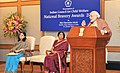 Narendra Modi addressing at the presentation ceremony of the National Bravery Awards 2015, in New Delhi on January 24, 2016. The Union Minister for Women and Child Development, Smt. Maneka Sanjay Gandhi is also seen.jpg