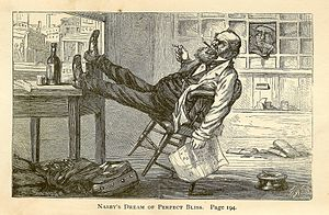 "David Ross Locke - Petroleum V. Nasby's ""Dream of Perfect Bliss"" (a ""Post Orfis"" appointment) by Thomas Nast"