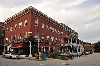 Nashville Historic District (Nashua, New Hampshire) - Railroad Square: The white porch is the Laton House Hotel