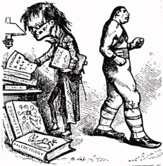 "Anti-intellectualism - Intellectual and anti-intellectual: Political cartoonist Thomas Nast contrasts the reedy scholar with the bovine boxer, epitomizing the populist view of reading and study as antithetical to sport and athleticism. Note the disproportionate heads and bodies, with the size of the head representing ""mental"" ability and intelligence, and the size of the body representing kinesthetic talent and ""physical"" ability."
