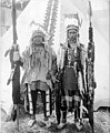 Native Americans in ceremonial dress outside tipi, Lewis and Clark Exposition, Portland, Oregon, 1905 (AL+CA 2189).jpg
