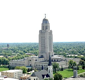 Nebraska State Capitol - Aerial view of the Nebraska State Capitol's northwest corner.