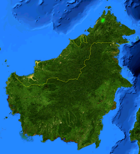 Borneo, showing natural range of Nepenthes rajah highlighted in green.