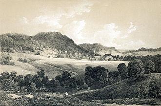 Næs jernverk - Næs ironworks in 1848. From Norway portrayed in drawings by Christian Tønsberg.