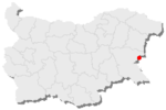 Map showing Nesebar's location in Bulgaria