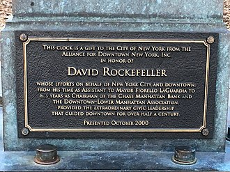 David Rockefeller - Plaque commemorating David Rockefeller's gift to New York City