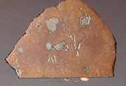 Slice of meteorite on display at the Vanderbilt Museum, New York