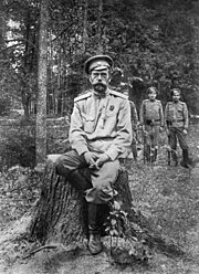The last known photograph of Nicholas II, taken after his abdication in March 1917