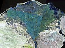 NASA satellite photograph of the Nile Delta (shown in false colour)