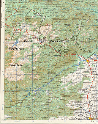 Nilgiri mountains - Topographic map of Nilgiri Hills showing some peaks