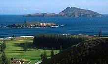 Panorama di Norfolk Island, con Nepean e Philip Island in distanza