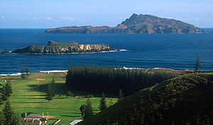 Norfolk Island - View across to Nepean Island (foreground) and Phillip Island
