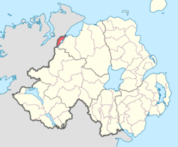 Location of North West Liberties of Londonderry, County Londonderry, Northern Ireland.