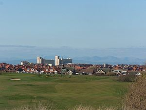 Norbreck Castle Hotel - View from North Shore Golf Course, Bispham with the hills of the Lake District in the background and Norbreck Castle Hotel
