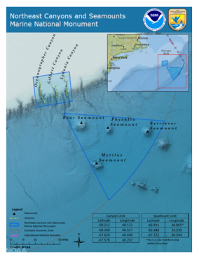 Northeast Canyons and Seamounts Marine National Monument map NOAA.png