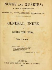 Notes and Queries - Series 1 - General Index.djvu
