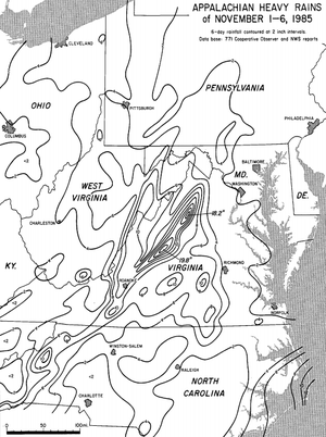 1985 Election Day floods - Rainfall map for the storm in the eastern United States