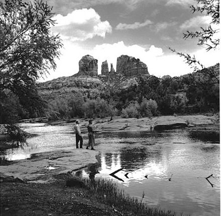 Fishing in Oak Creek, Cathedral Rock in background, 1959. Oak Creek Sedona Arizona.jpg