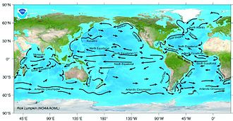Wild fisheries - Major ocean surface currents. NOAA map.