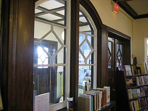 Oregon Public Library - The four-panel wooden interior double doors are designed in an Arts and Crafts motif.