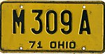 Ohio 1971 license plate - Number M 309 A.jpg