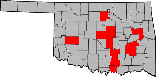 Red counties indicate Oklahoma counties where Governors of Oklahoma were born. Oklahoma Governors by county.png