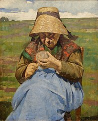 Old women winding a skein