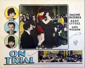 On Trial (1928 film) - lobby card.