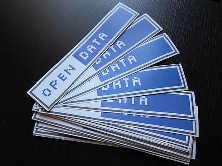 Clear labeling of the licensing terms is a key component of open data, and icons like the one pictured here are being used for that purpose. Open Data stickers.jpg