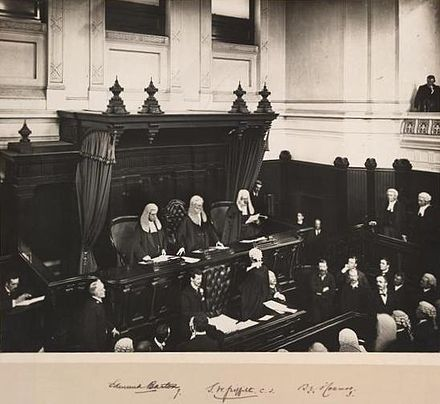 The first Chief Justice of Australia, Sir Samuel Griffith, is administered the judicial oath at the first sitting of the High Court, in the Banco Court of the Supreme Court of Victoria, 6 October 1903. Opening hca melb.jpg
