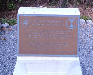 Operation Flintlock (World War II) - This is a plaque commemorating Operation Flintlock Raid in 1944. The plaque is located on the island of Kwajalein.