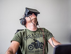 Head-mounted display - The Oculus Rift virtual reality headset.