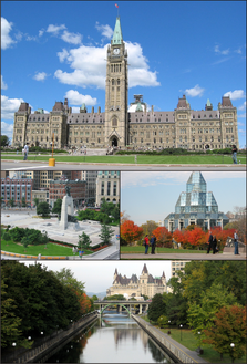 Centre Block on Parliament Hill, the National War Memorial in downtown Ottawa, the د کاناډا ملي آرشیف، and the Rideau Canal with Château Laurier.